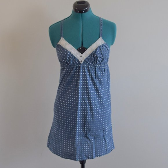 UO Pins & Needles Navy Polka Dot Dress Y-Back